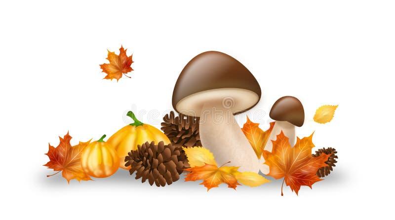 Objetos do outono da decoração ilustração royalty free