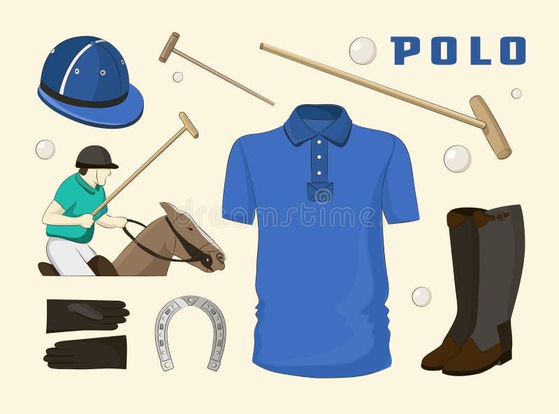 Objetos do polo, uniforme do esporte ilustração royalty free