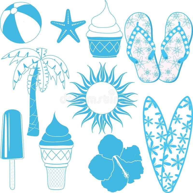 Objetos do verão ilustração stock
