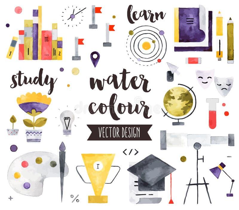 Objetos do vetor da aquarela dos elementos da educação ilustração stock