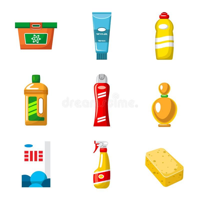 Objetos do vetor dos produtos químicos de agregado familiar isolados ilustração do vetor
