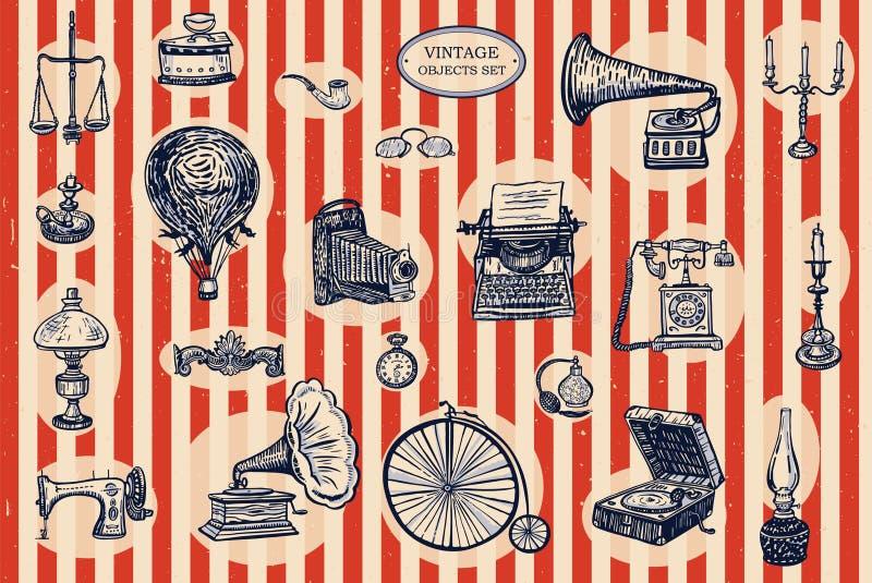 Objetos do vintage ajustados ilustração royalty free