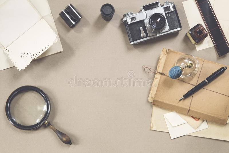 Objetos do vintage foto de stock