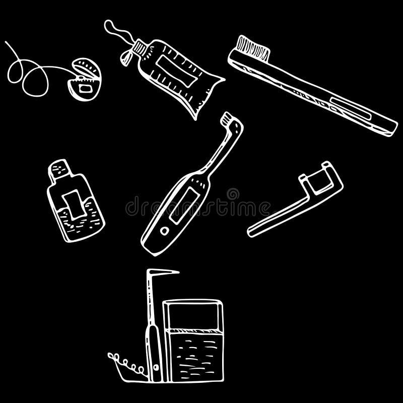 Objetos dos serviços dentais isolados no fundo preto Ferramentas dentais da limpeza e do cuidado do estilo da garatuja Stomatolog ilustração stock