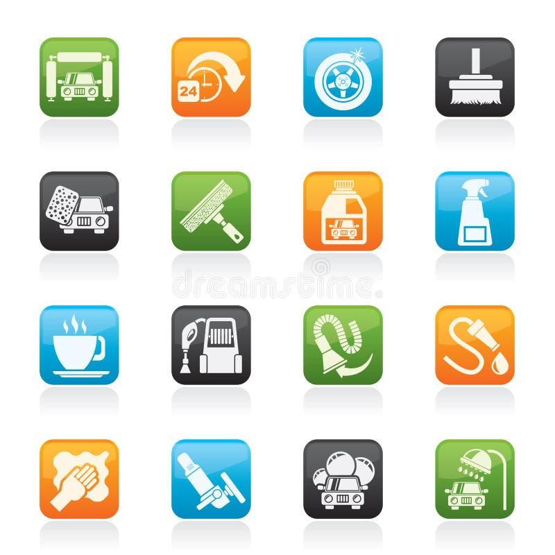 Objetos e ícones da lavagem de carros ilustração do vetor