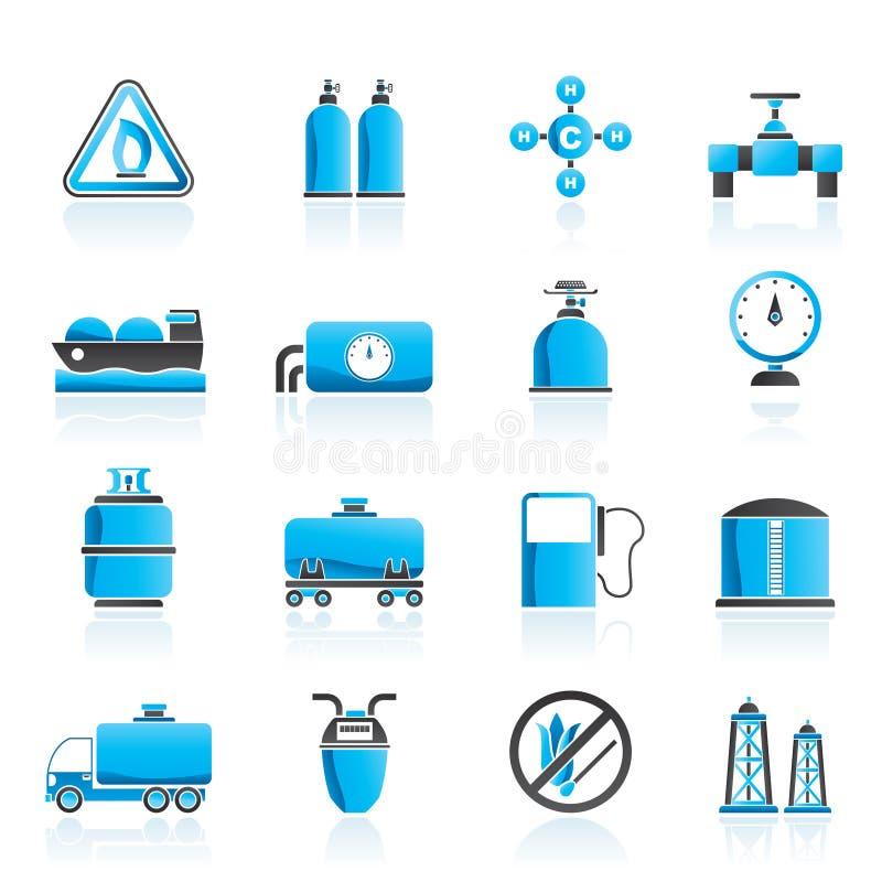 Objetos e ícones do gás natural ilustração stock