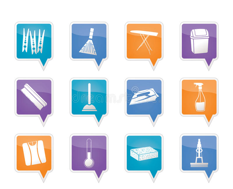 Objetos e ícones Home das ferramentas ilustração stock