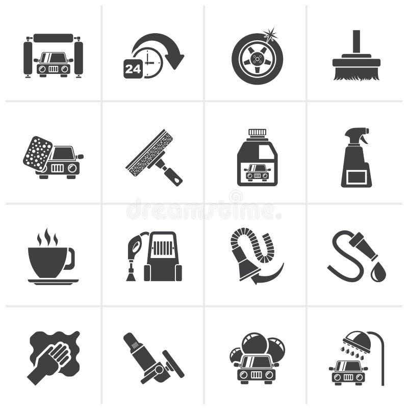 Objetos e ícones pretos da lavagem de carros ilustração stock