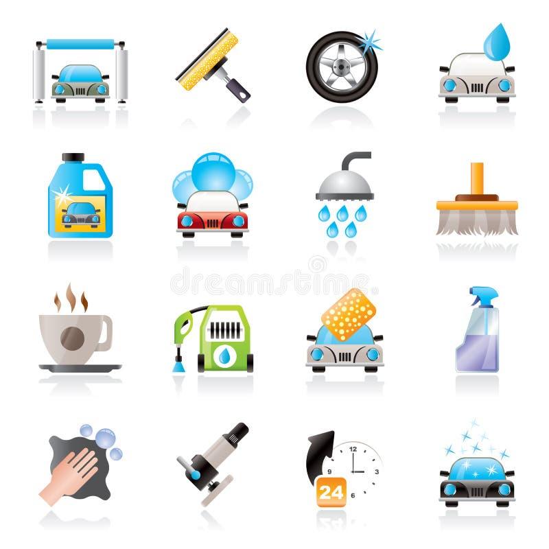 Objetos e ícones profissionais da lavagem de carros ilustração do vetor