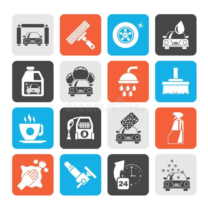 Objetos e ícones profissionais da lavagem de carros da silhueta ilustração royalty free