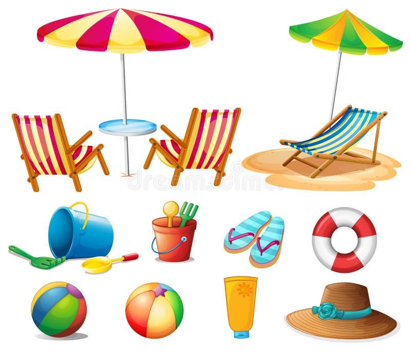 Objetos e brinquedos da praia ilustração do vetor