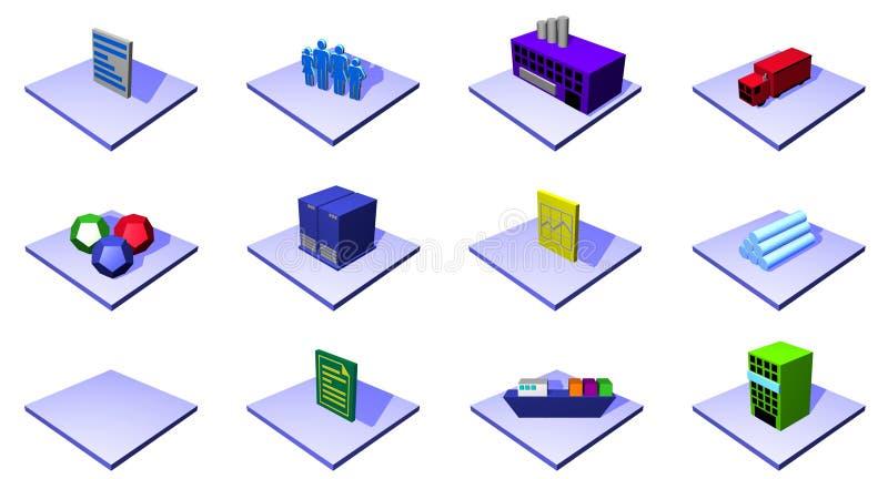 Objetos e symb do diagrama da cadeia de aprovisionamento da distribuição ilustração do vetor