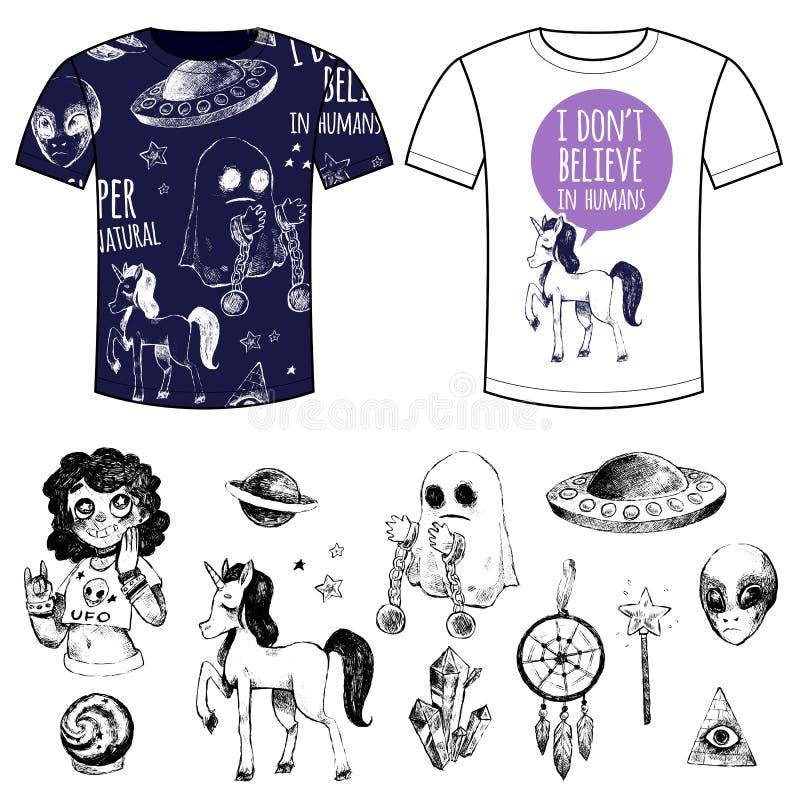 Objetos e t-shirt místicos ajustados com cópias ilustração do vetor