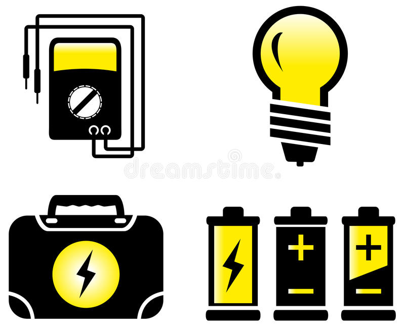 Objetos eléctricos brillantes stock de ilustración