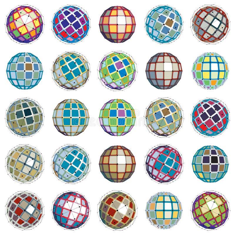 objetos esféricos del wireframe digital del vector 3d hechos usando differe stock de ilustración