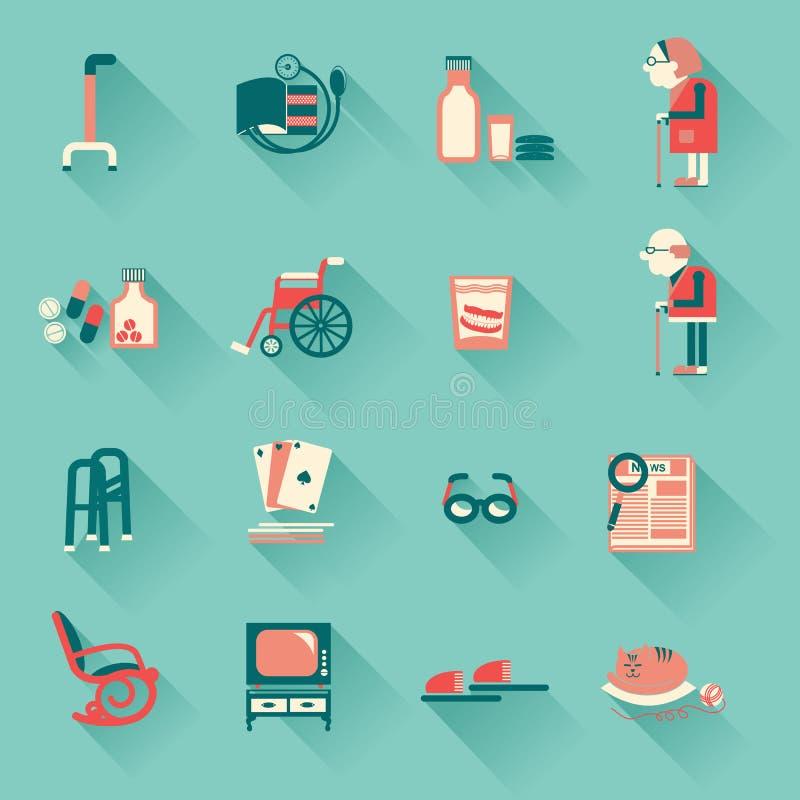 Objetos especiales para la vida de los pensionistas ilustración del vector