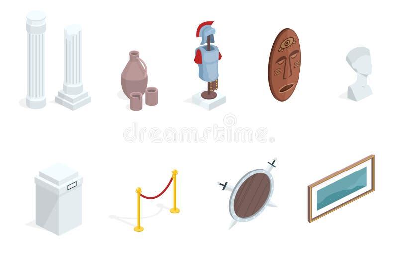 Objetos expuestos isométricos del vector de la exposición del museo stock de ilustración