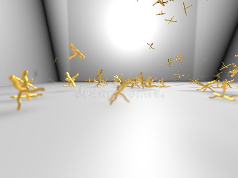 Objetos folheados a ouro tridimensionais ilustração do vetor