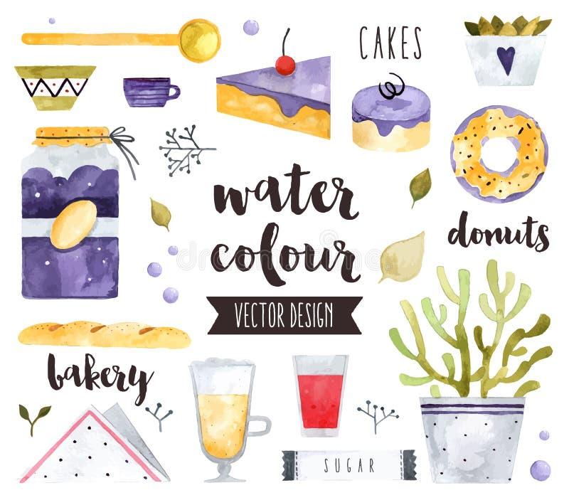 Objetos hechos en casa del vector de la acuarela de los dulces libre illustration