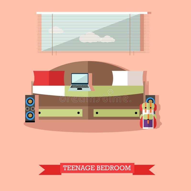 Objetos interiores del dormitorio del adolescente en estilo plano Ilustración del vector Elementos e iconos del diseño del sitio  stock de ilustración