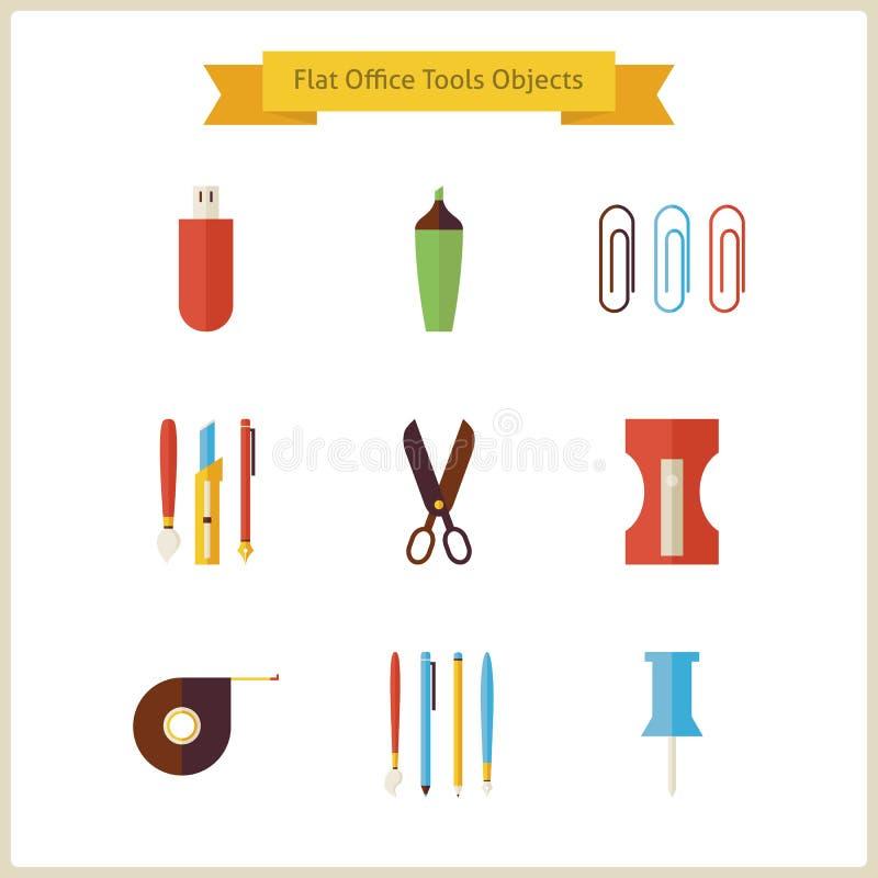 Objetos lisos das ferramentas da escola e do escritório para negócios da educação ajustados ilustração stock