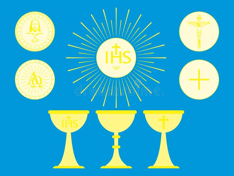 Objetos litúrgicos cristianos Pan consagrado y cáliz del anfitrión stock de ilustración
