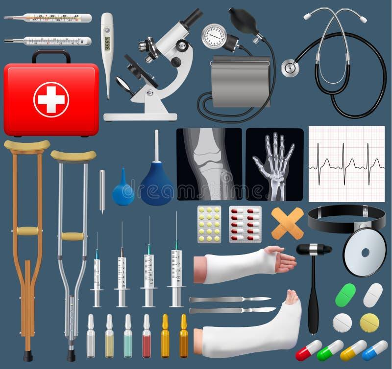 Objetos médicos grandes ajustados Ferramentas e equipamento realísticos Objetos isolados Vetor ilustração do vetor