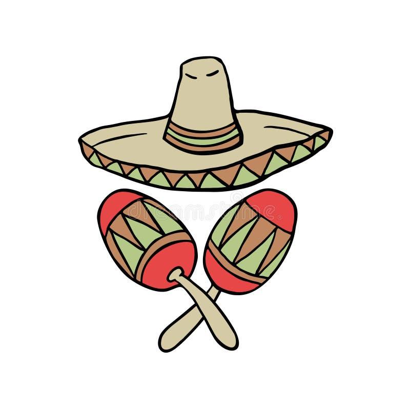 Objetos mexicanos ilustração do vetor