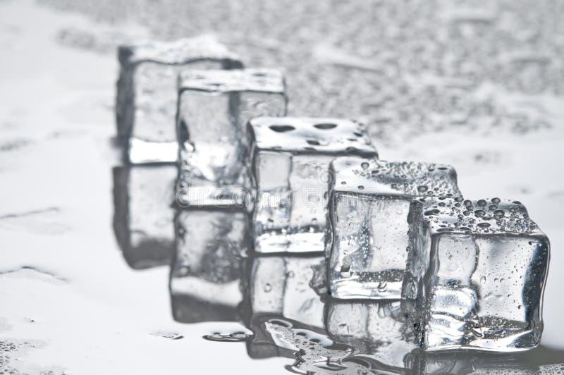 Objetos molhados dos cubos de gelo imagem de stock royalty free