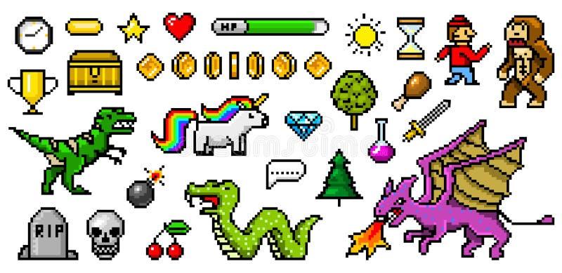 Objetos mordidos da arte 8 do pixel Ativos retros do jogo Jogo dos ícones arcadas video do computador do vintage pônei do dinossa ilustração royalty free