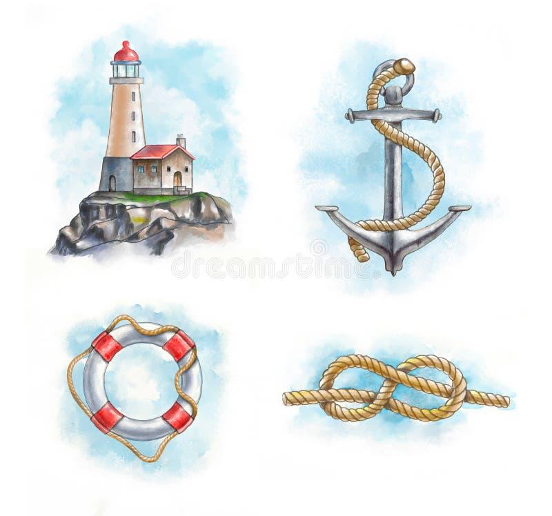Objetos náuticos ilustração royalty free