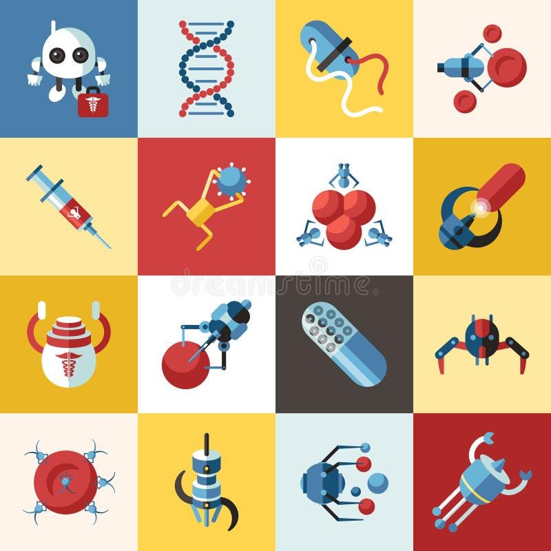 Objetos nano médicos espertos do conceito dos robôs de Digitas ilustração stock