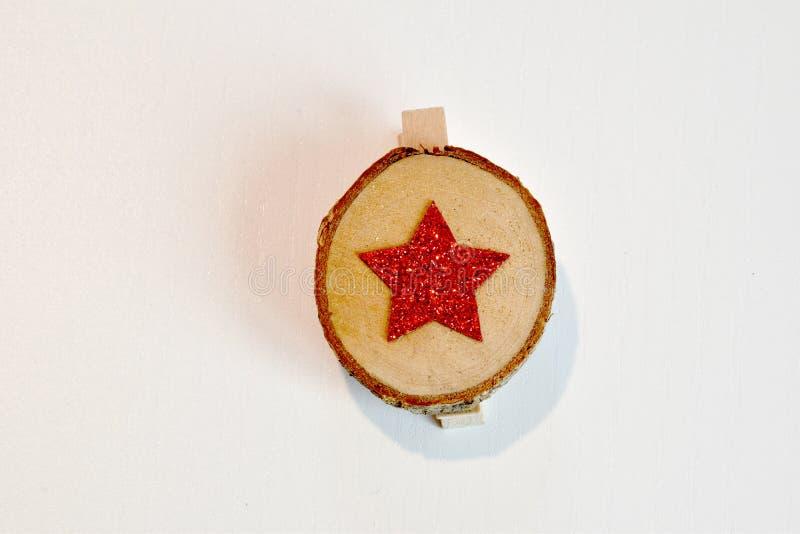 Objetos para decorações do Natal na madeira foto de stock