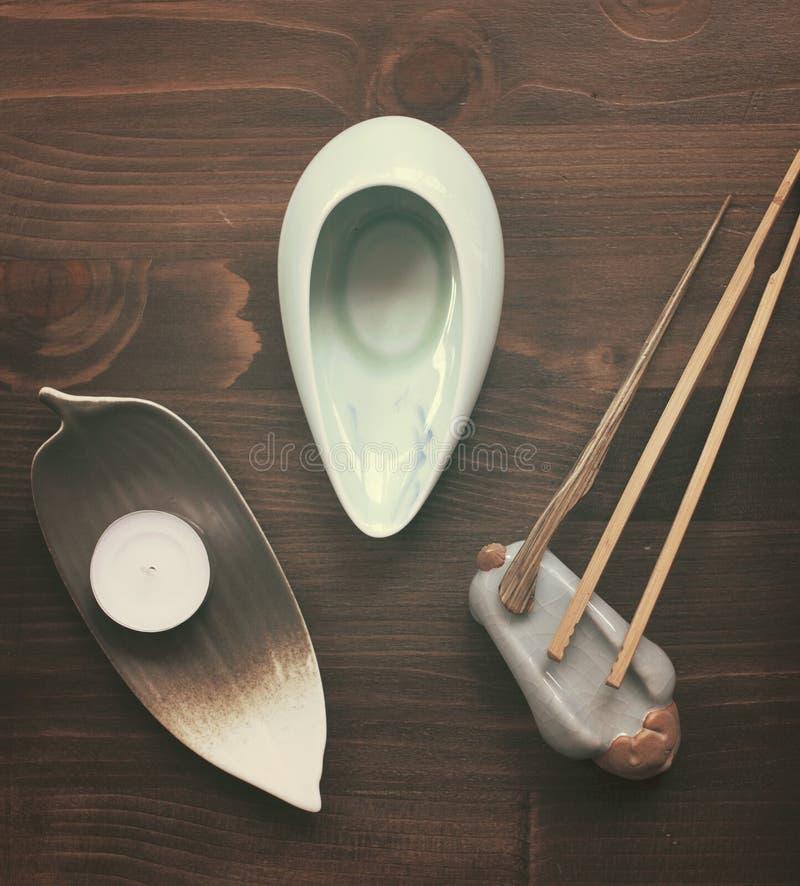 Objetos para la ceremonia de té fotografía de archivo
