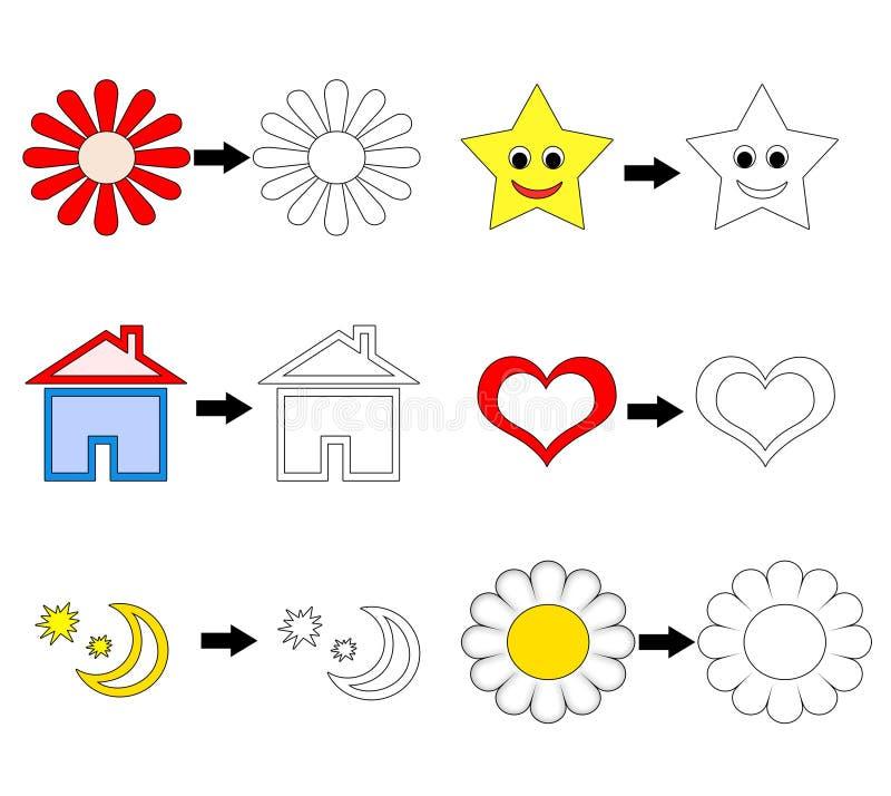 Objetos para las paginaciones del libro de colorante ilustración del vector