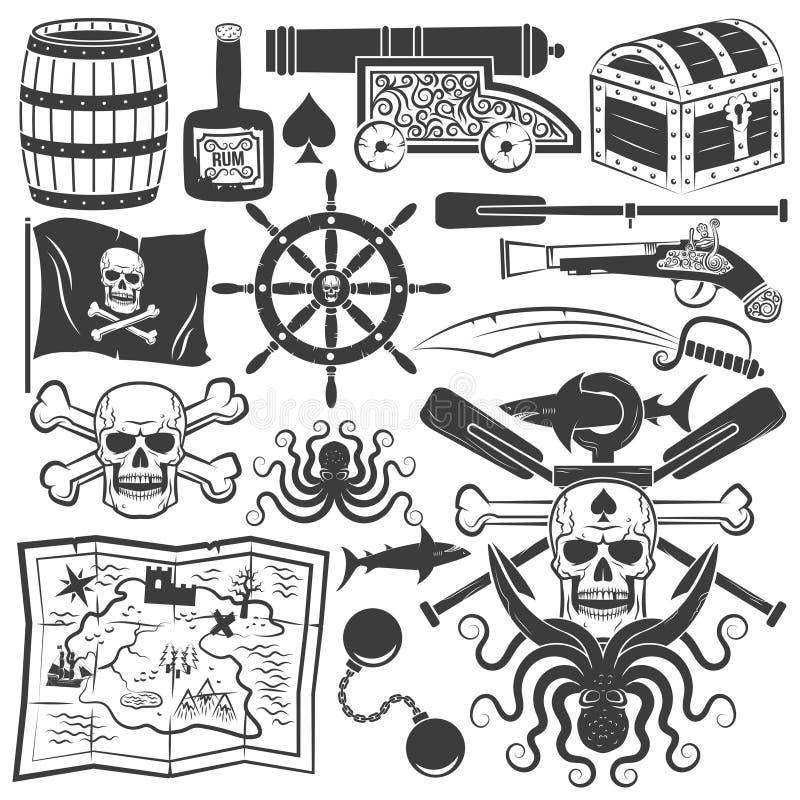 Objetos para o logotipo do pirata do projeto ilustração stock