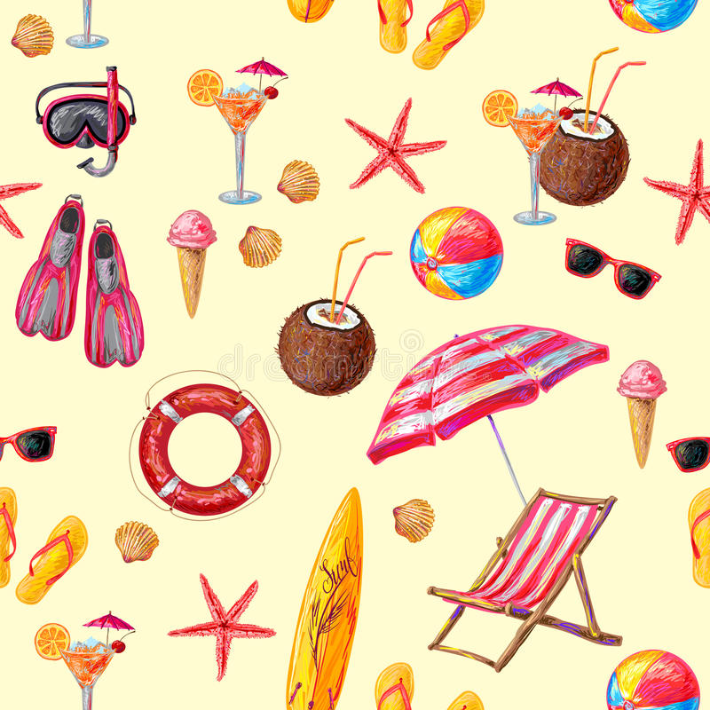 Objetos para a praia e o teste padrão do esporte ilustração stock