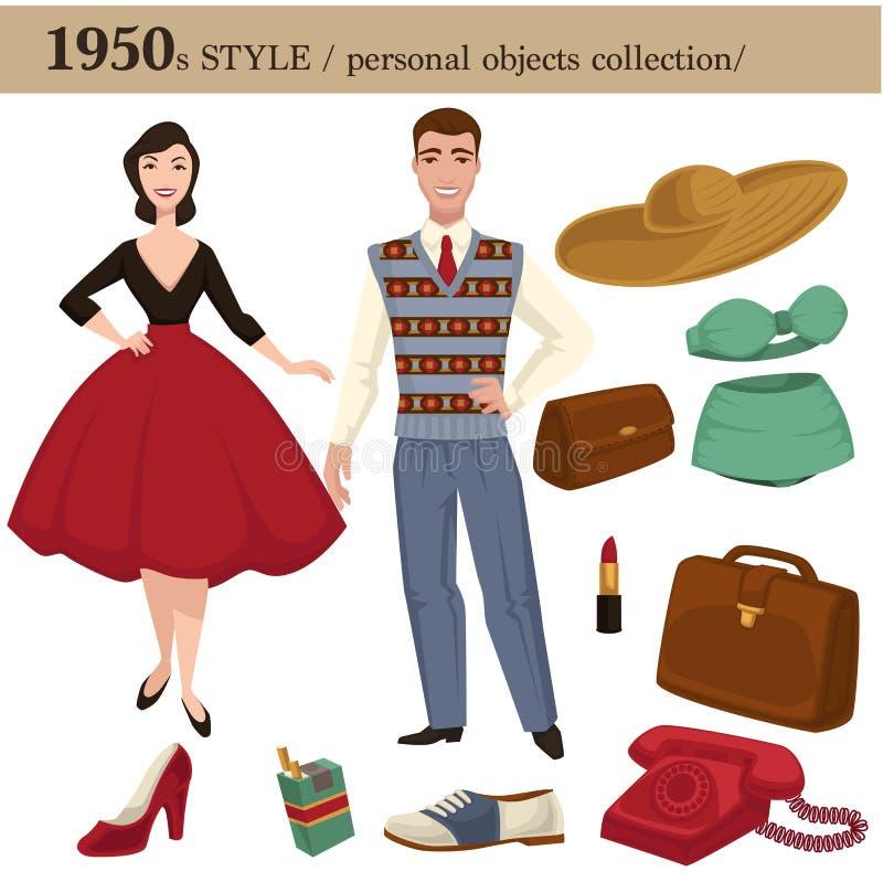 objetos pessoais do homem e da mulher do estilo de 1950 formas ilustração stock