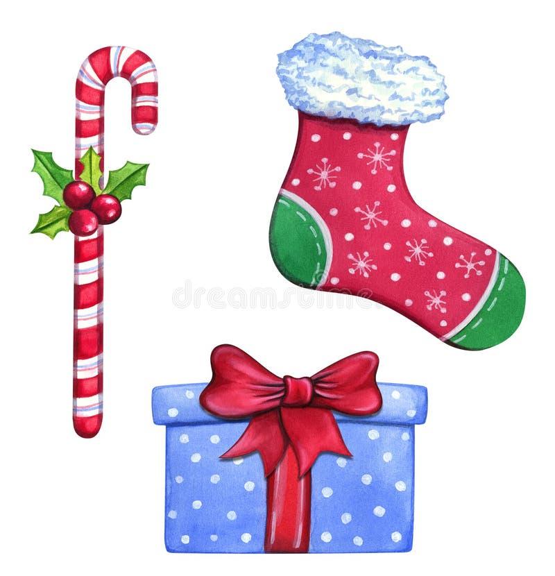 Objetos pintados a mano de la Navidad de la acuarela aislados en el fondo blanco ilustración del vector