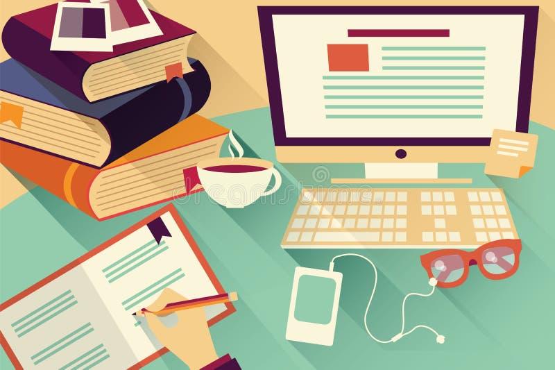 Objetos planos del diseño, escritorio del trabajo, escritorio de oficina, libros, ordenador stock de ilustración