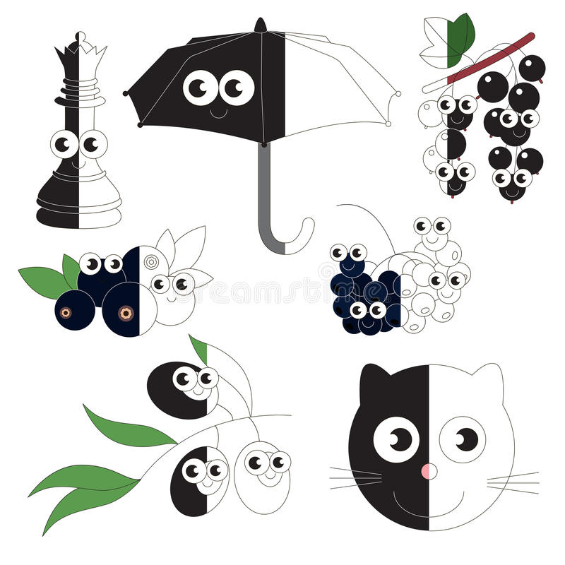 Objetos pretos engraçados, o jogo grande da criança a ser colorido pelo exemplo meio ilustração stock