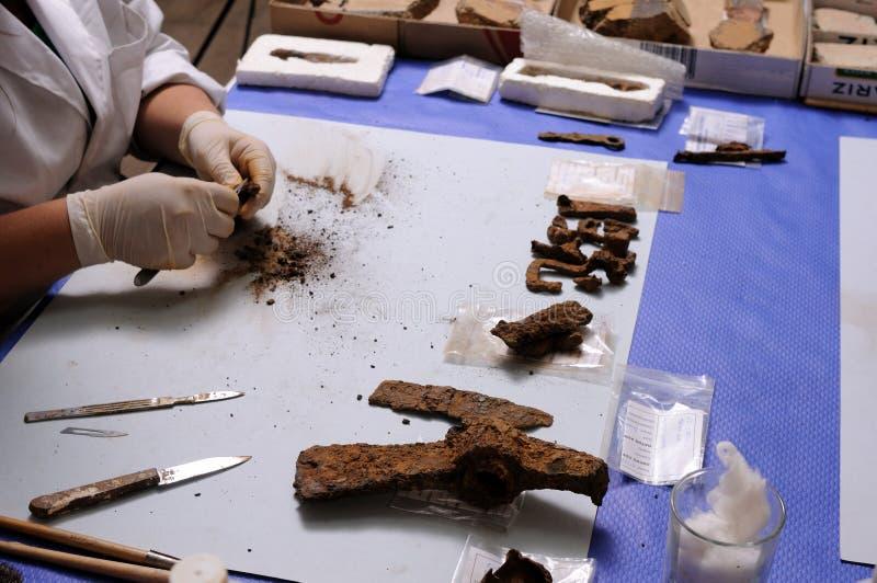 Objetos romanos de la restauración fotografía de archivo libre de regalías