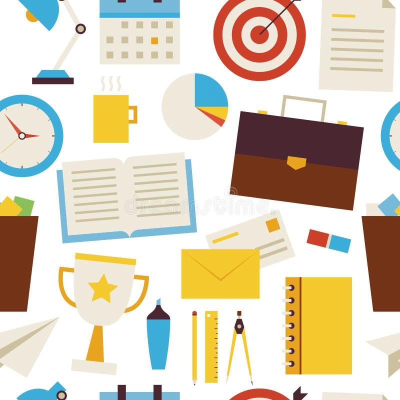 Objetos sem emenda lisos do negócio e do escritório do teste padrão sobre o branco ilustração stock
