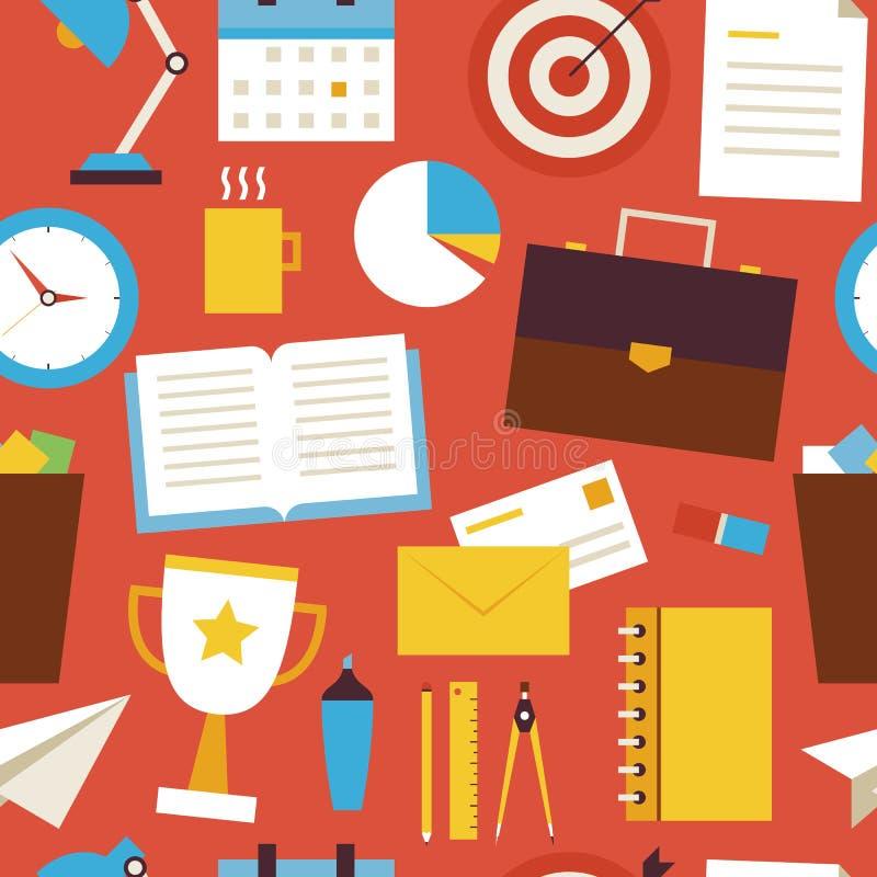 Objetos sem emenda lisos do negócio e do escritório do teste padrão sobre o vermelho ilustração do vetor