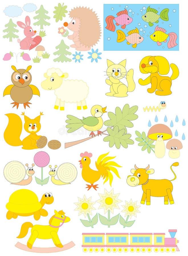 Objetos simples para el jardín de la infancia libre illustration