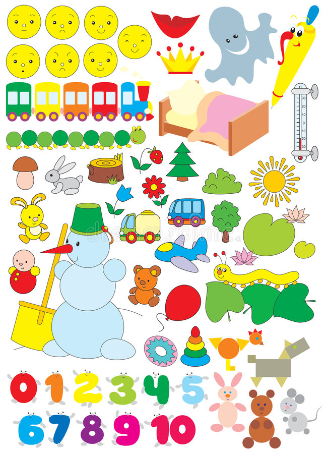 Objetos simples para el jardín de la infancia stock de ilustración
