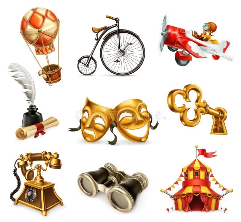 Objetos velhos Grupo do ícone do vintage, vetor ilustração stock