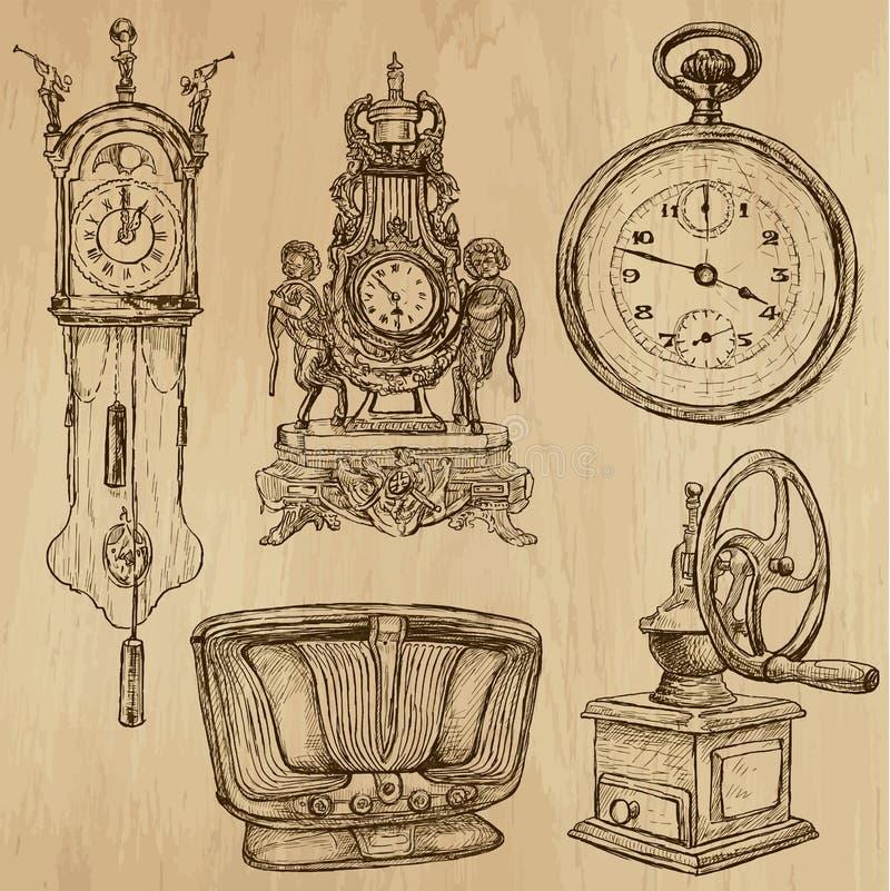 Objetos velhos nenhuns 5 - coleção tirada mão ilustração stock