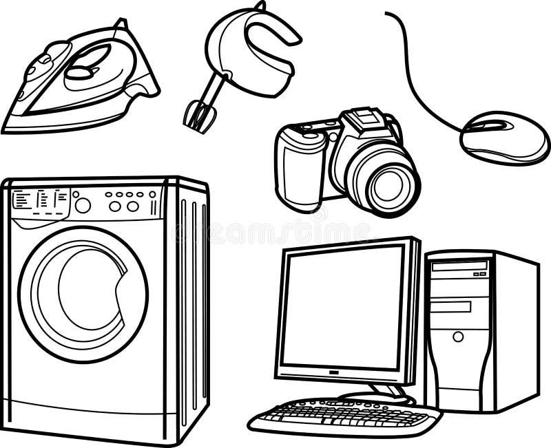 Objets électroniques à la maison illustration libre de droits