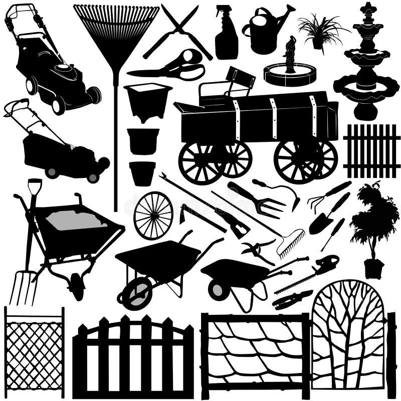 Objets 3 de jardin illustration libre de droits